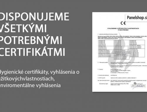 Disponujeme všetkými potrebnými certifikátmi